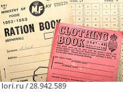 Купить «Ration books in use after World War Two to cope with post war shortages.», фото № 28942589, снято 25 июля 2018 г. (c) age Fotostock / Фотобанк Лори