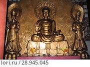 Купить «Pjoengjang, North Korea, Buddha figures in a temple», фото № 28945045, снято 12 августа 2012 г. (c) Caro Photoagency / Фотобанк Лори
