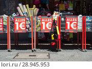 Купить «Advertising for lowered products in retail - all for one euro», фото № 28945953, снято 2 июня 2017 г. (c) Caro Photoagency / Фотобанк Лори