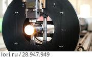 Купить «Grinding machine is cutting the pipe and a lot of sparks flying.», видеоролик № 28947949, снято 17 февраля 2020 г. (c) Константин Шишкин / Фотобанк Лори