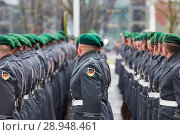 Berlin, Germany - Soldiers of the Guard Battalion in the Honorary Court of the Federal Chancellery. (2018 год). Редакционное фото, агентство Caro Photoagency / Фотобанк Лори