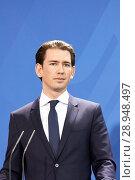 Berlin, Germany - The Austrian Federal Chancellor Sebastian Kurz (2018 год). Редакционное фото, агентство Caro Photoagency / Фотобанк Лори