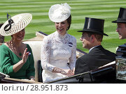 Купить «Royal Ascot, Royal Procession. Sophie, Countess of Wessex, Prince Edward, Catherine, Duchess of Cambridge and William Prince arriving at the racecourse», фото № 28951873, снято 20 июня 2017 г. (c) Caro Photoagency / Фотобанк Лори