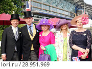 Royal Ascot, Portrait of Niko Lafrentz, Gerhard Schoeningh, Graefin Tini Rothkirch, Heike Bischoff-Lafrentz and Hedwig Adomeit (from left) (2017 год). Редакционное фото, агентство Caro Photoagency / Фотобанк Лори
