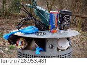 Купить «Berlin, Germany, Empty coffee mug, beverage can and dog waste bags on overflowing dustbin», фото № 28953481, снято 11 февраля 2018 г. (c) Caro Photoagency / Фотобанк Лори
