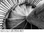 Купить «Wooden spiral staircase in the ancient bell tower of the Orthodox Church», фото № 28954461, снято 19 января 2019 г. (c) Mikhail Starodubov / Фотобанк Лори