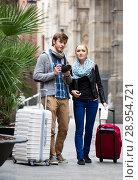 Купить «Couple of tourists», фото № 28954721, снято 18 октября 2018 г. (c) Яков Филимонов / Фотобанк Лори