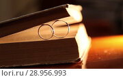 Купить «Book and Gold Wedding Rings macro closeup shoot diamon Jewellery», видеоролик № 28956993, снято 9 августа 2018 г. (c) Aleksejs Bergmanis / Фотобанк Лори