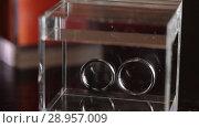 Купить «Silver Wedding Rings in the glass box macro closeup shoot diamon Jewellery», видеоролик № 28957009, снято 9 августа 2018 г. (c) Aleksejs Bergmanis / Фотобанк Лори