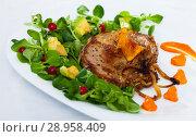 Купить «Grilled pork chop with greens and squash puree», фото № 28958409, снято 21 марта 2019 г. (c) Яков Филимонов / Фотобанк Лори