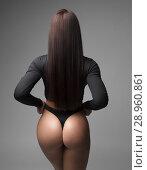 Купить «Beautiful athletic ass in thong in a brunette with long straight hair.», фото № 28960861, снято 31 июля 2018 г. (c) Restyler Viacheslav / Фотобанк Лори