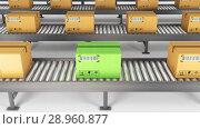 Boxes on conveyor roller. 3D Rendering. Стоковое фото, фотограф Andrey K / Фотобанк Лори