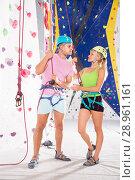 Купить «Couple of climbers dressed in rock climbing outfit training», фото № 28961161, снято 16 октября 2018 г. (c) Яков Филимонов / Фотобанк Лори
