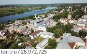Купить «Aerial view of city landscape of Kasimov on Oka river with Ascension», видеоролик № 28972725, снято 28 июня 2018 г. (c) Яков Филимонов / Фотобанк Лори
