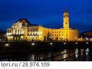 Купить «Oradea City Hall and quay in night», фото № 28974109, снято 13 сентября 2017 г. (c) Яков Филимонов / Фотобанк Лори