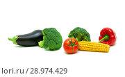 Купить «Broccoli and other vegetables on a white background», фото № 28974429, снято 19 мая 2014 г. (c) Ласточкин Евгений / Фотобанк Лори