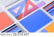 Купить «School accessories top view», фото № 28974437, снято 19 февраля 2020 г. (c) Сергей Петерман / Фотобанк Лори