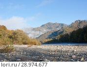 Купить «Верховья реки Белая в Адыгеи. Осенний пейзаж», фото № 28974677, снято 21 октября 2012 г. (c) Олег Хархан / Фотобанк Лори