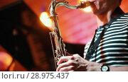 Купить «Musician in a striped t-shirt playing the saxophone at a concert in a jazz bar», видеоролик № 28975437, снято 8 июля 2020 г. (c) Константин Шишкин / Фотобанк Лори