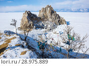 Купить «Cape Burkhan (Shaman Rock) on Olkhon Island at Baikal Lake», фото № 28975889, снято 2 марта 2017 г. (c) Юлия Белоусова / Фотобанк Лори