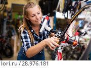 Купить «worker is standing near bicycle and cheking wheels», фото № 28976181, снято 13 сентября 2017 г. (c) Яков Филимонов / Фотобанк Лори