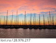 Купить «Yachts at the pier at sunset, the Mediterranean sea, Ashdod, Israel», фото № 28976217, снято 7 ноября 2016 г. (c) Наталья Волкова / Фотобанк Лори