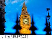 Купить «Big Ben under clear blue skies at sunset Featuring: View, Atmosphere Where: London, United Kingdom When: 26 Apr 2017 Credit: WENN.com», фото № 28977281, снято 26 апреля 2017 г. (c) age Fotostock / Фотобанк Лори