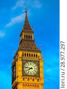 Купить «Big Ben under clear blue skies at sunset Featuring: View, Atmosphere Where: London, United Kingdom When: 26 Apr 2017 Credit: WENN.com», фото № 28977297, снято 26 апреля 2017 г. (c) age Fotostock / Фотобанк Лори