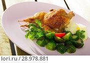 Купить «Grilled partridge with steamed vegetables», фото № 28978881, снято 22 марта 2019 г. (c) Яков Филимонов / Фотобанк Лори