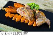 Купить «Teriyaki partridge with grilled carrots», фото № 28978901, снято 22 марта 2019 г. (c) Яков Филимонов / Фотобанк Лори