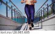 Купить «Three slender girls run after each other on a white wooden platform», видеоролик № 28981605, снято 18 марта 2019 г. (c) Константин Шишкин / Фотобанк Лори