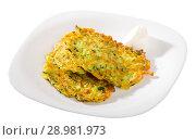 Купить «Image of pancakes from courgettes», фото № 28981973, снято 15 октября 2018 г. (c) Яков Филимонов / Фотобанк Лори