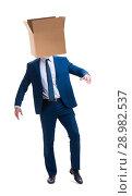 Купить «The businessman with blank box on his head», фото № 28982537, снято 5 апреля 2018 г. (c) Elnur / Фотобанк Лори