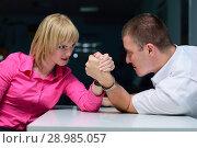 Купить «Армрестлинг в офисе. девушка против парня», фото № 28985057, снято 15 июня 2011 г. (c) Арестов Андрей Павлович / Фотобанк Лори