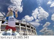 Купить «Official mascot of the 2018 FIFA World Cup in Russia-- wolf Zabivaka and Luzhniki Olympic Complex -- Stadium for the 2018 FIFA World Cup. Moscow», фото № 28985941, снято 10 августа 2018 г. (c) Владимир Журавлев / Фотобанк Лори