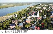 Купить «Panoramic aerial view historical part of the Murom with Oka, Russia», видеоролик № 28987581, снято 28 июня 2018 г. (c) Яков Филимонов / Фотобанк Лори