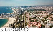 Купить «Image of seaside of Barcelona outdoors.», видеоролик № 28987613, снято 24 июля 2018 г. (c) Яков Филимонов / Фотобанк Лори