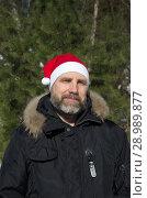 Купить «Портрет мужчины с бородой в шапке Санта Клауса на фоне зимнего леса», эксклюзивное фото № 28989877, снято 9 марта 2018 г. (c) Елена Коромыслова / Фотобанк Лори