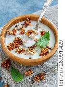 Купить «Natural yogurt with oat flakes and nuts in honey», фото № 28991429, снято 24 августа 2018 г. (c) Марина Сапрунова / Фотобанк Лори