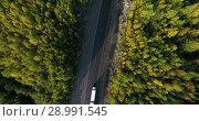 Купить «Вид сверху на лесную автомобильную трассу с проезжающими легковыми и грузовыми автомобилями», видеоролик № 28991545, снято 23 августа 2018 г. (c) Кекяляйнен Андрей / Фотобанк Лори