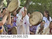 Купить «Pamiri women celebrating at the 'Roof of the World' festival in Khorog, Tajikistan.», фото № 29000325, снято 27 июля 2018 г. (c) age Fotostock / Фотобанк Лори