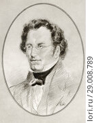 Купить «Franz Peter Schubert, 1797-1828. Austrian composer. Illustration by Gordon Ross, American artist and illustrator (1873-1946), from Living Biographies of Great Composers.», фото № 29008789, снято 22 октября 2019 г. (c) age Fotostock / Фотобанк Лори