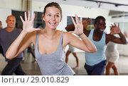 Купить «dancing people practicing vigorous swing», фото № 29010829, снято 30 июля 2018 г. (c) Яков Филимонов / Фотобанк Лори