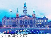 Купить «Gyor City Hall in twilight», фото № 29010877, снято 2 ноября 2017 г. (c) Яков Филимонов / Фотобанк Лори