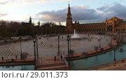 Купить «Spain Square in Maria Luisa Park, Seville, Spain», видеоролик № 29011373, снято 21 марта 2017 г. (c) BestPhotoStudio / Фотобанк Лори