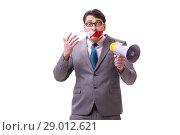 Купить «Funny businessman with loudspeaker isolated on white», фото № 29012621, снято 27 марта 2017 г. (c) Elnur / Фотобанк Лори