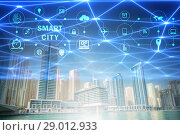 Купить «Concept of smart city and internet of things», фото № 29012933, снято 26 мая 2019 г. (c) Elnur / Фотобанк Лори