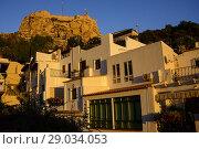 Купить «Houses in the neighborhood of Santa Cruz and in the background the Castle of Santa Barbara in Alicante, Valencia, Spain», фото № 29034053, снято 23 декабря 2016 г. (c) age Fotostock / Фотобанк Лори