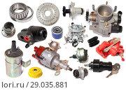 Купить «assortment car parts isolated», фото № 29035881, снято 17 октября 2018 г. (c) Яков Филимонов / Фотобанк Лори