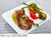Купить «Veal with grilled vegetables», фото № 29036005, снято 27 июня 2018 г. (c) Яков Филимонов / Фотобанк Лори